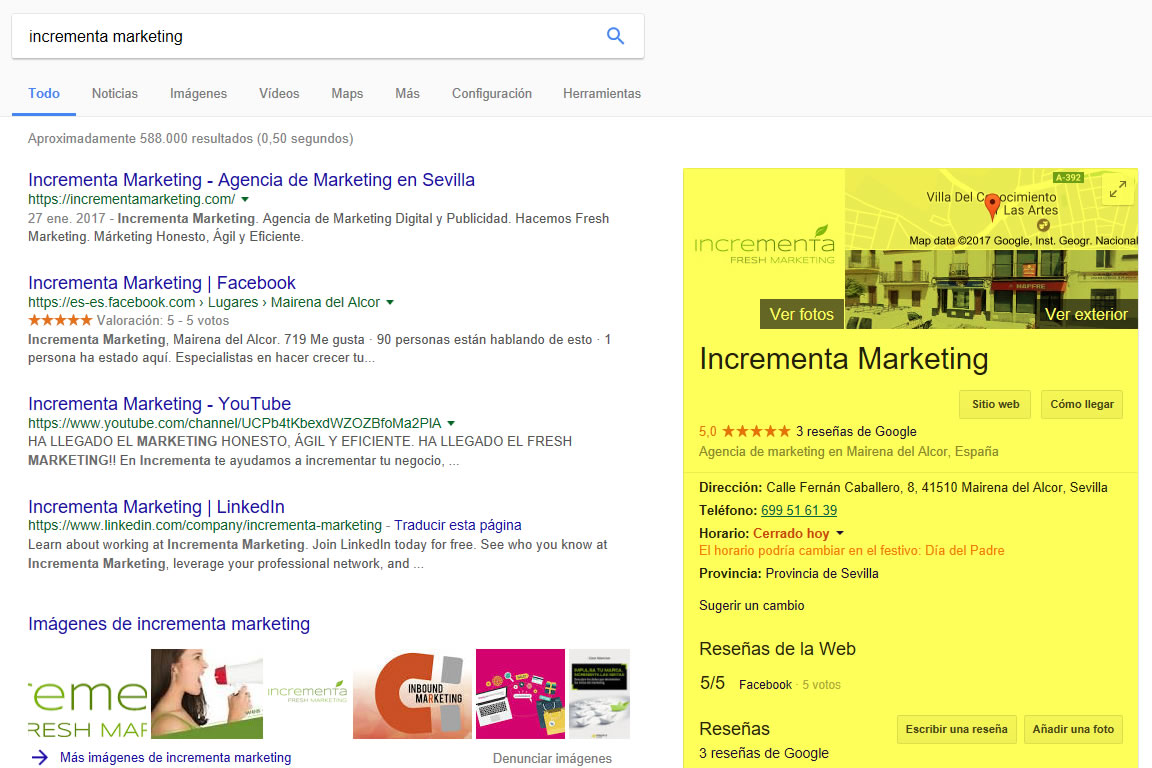 "Captura de pantalla de buscar ""incrementa Marketing"" en Google con resultados de Google My Business"